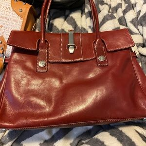 Red micheal kors purse leather